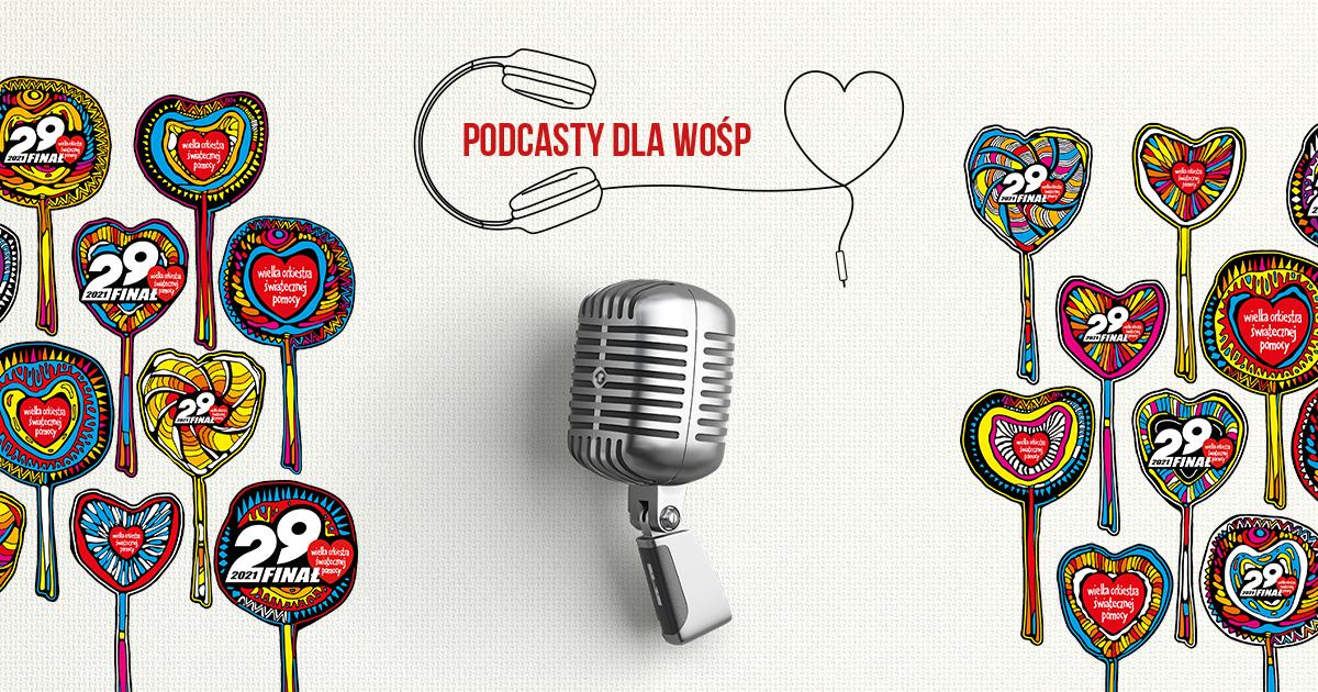 Grafika z logo Podcasty dla WOŚP, w środku mikrofon.